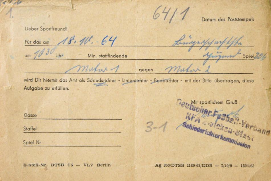 Das ist die Karte von Müllers erstem Spiel am 18.Oktober 1964.