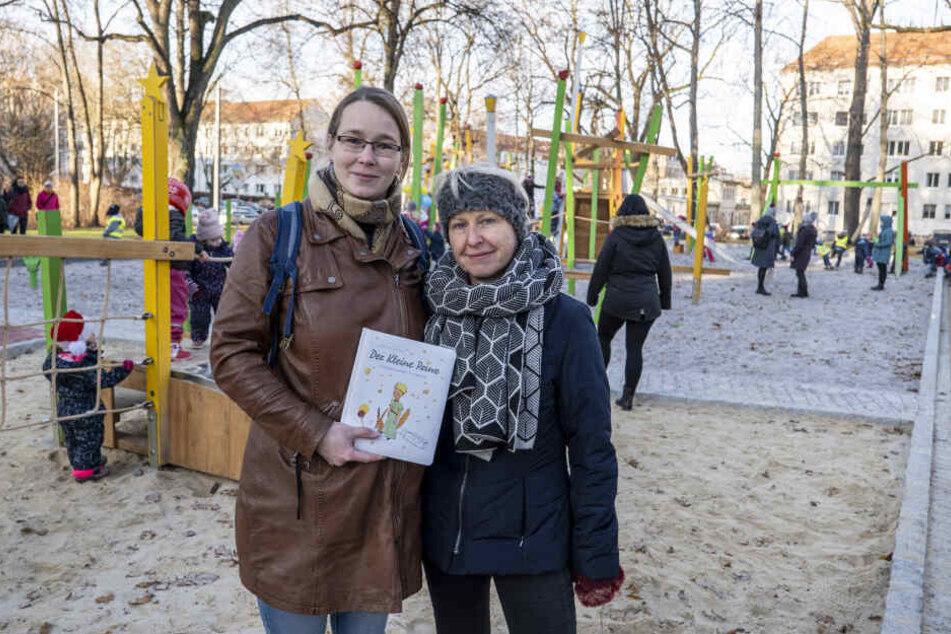 Die Landschaftsarchitektinnen des Grünflächenamtes, Julia Lindner (l.) und Birgit Burkhardt (r.), entwickelten die Pläne für die neue Anlage.