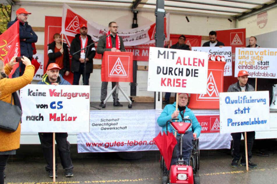 Bosch-Mitarbeiter demonstrierten gegen den Abbau von Arbeitsplätzen Anfang November in Schwäbisch Gmünd.