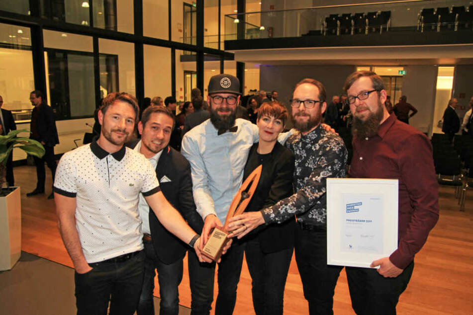 Gewannen den ersten Marketingpreis in Zwickau: Nico Neef (39, v.l.), Denny Helmer (39), Tino Wäntig (35), Eva Adler (35), Rico Püschel (39) und Stefan Wäntig (36).