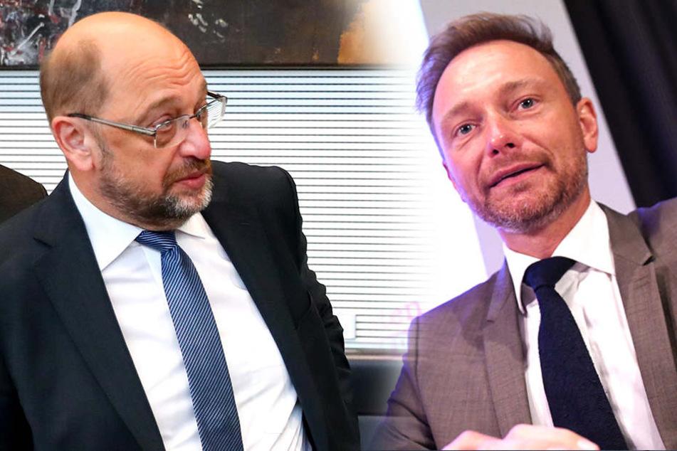 """""""Mit den letzten Aussagen von Martin Schulz hat sich die SPD weiter verzwergt"""", sagte Christian Lindner (38, FDP, re.)."""