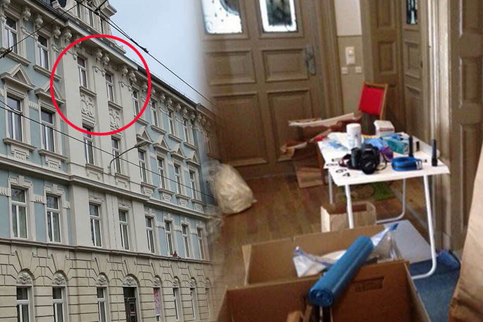 Hinter diesem Fenster (li.) soll Dovchin D. seine Opfer ermordet haben. Am Mittwoch suchten Kriminaltechniker mit Spezialchemikalien nach Blutanhaftungen (re.).
