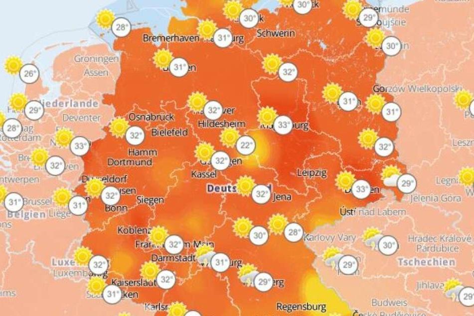 Deutschlandweit Temperaturwerte um 30 Grad.
