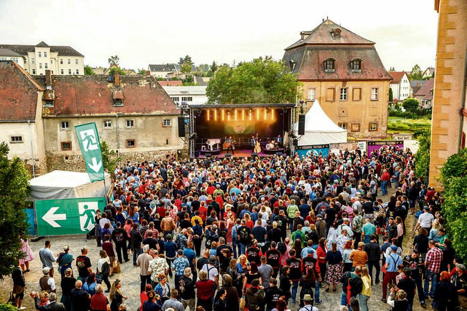 """Täglich 2000 Besucher rockten den Innenhof von Schloss Trebsen beim """"Firebirds""""-Festival."""