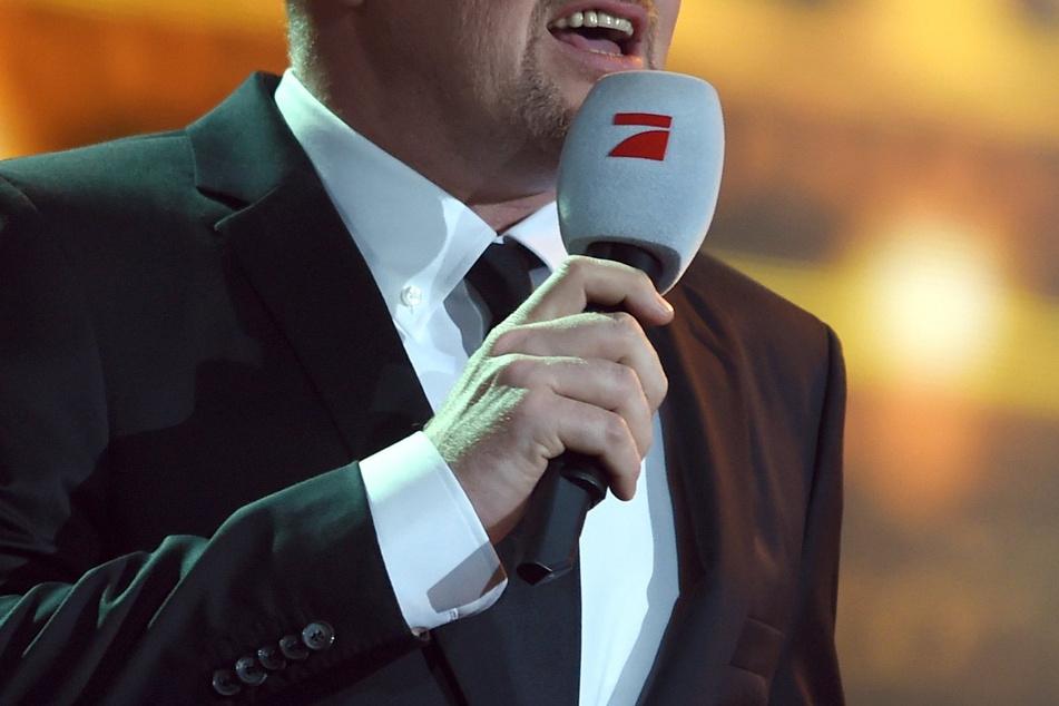 Moderator Stefan Raab steht beim zehnten Bundesvision Song Contest 2014 auf der Bühne.