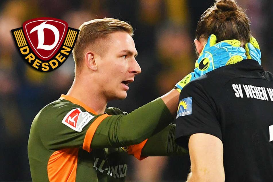 Dynamo-Torhüter Broll zeigt mit dieser Aktion ganz großen Sportsgeist