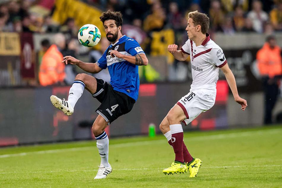 Nils Teixeira (links) kehrte im DSC-Trikot am Dienstagabend ins DDV-Stadion zurück.