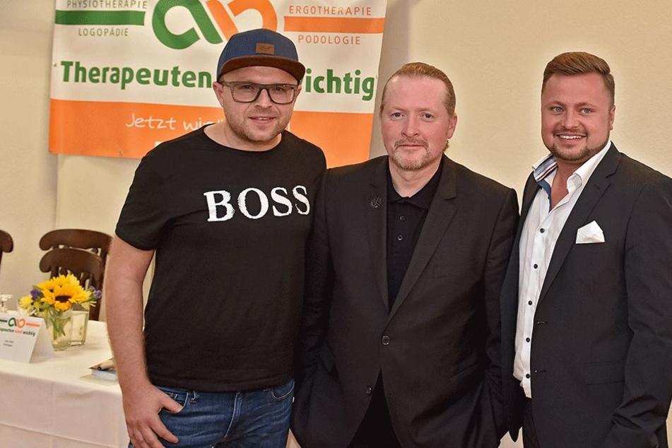 """Unterstützen den Verein """"Therapeuten sind wichtig"""" (v.l.): Anthony Weihs (39), Joey Kelly (45) und Martin Fischer (26)."""