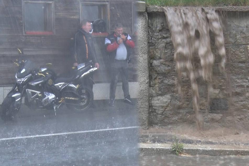 Überschwemmungen im Erzgebirge: Heftiges Gewitter zieht über Sachsen