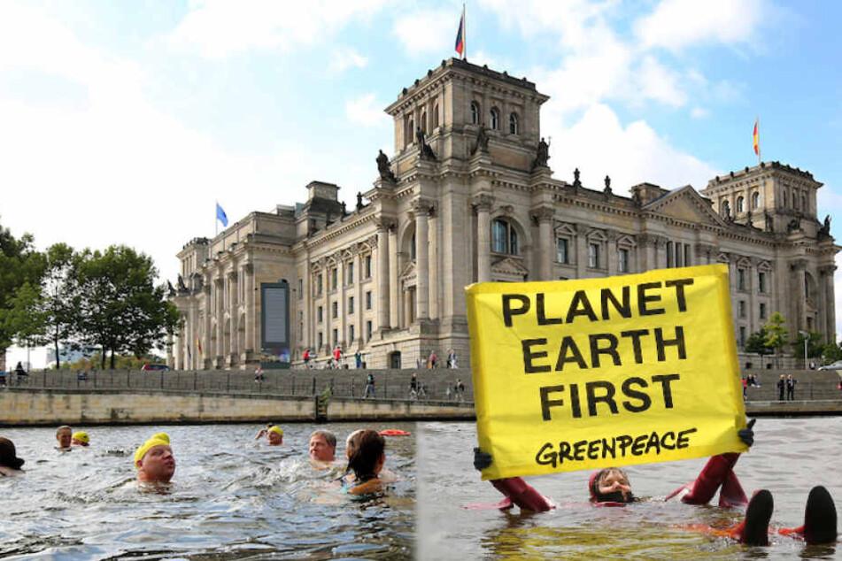 100 Greenpeace-Aktivisten wollen aus Protest in der Spree zum Bundestag schwimmen. (Bildmontage)