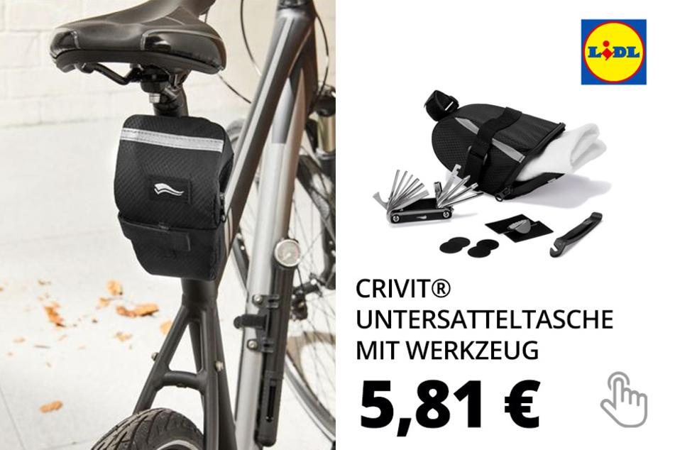 CRIVIT® Untersatteltasche mit Werkzeug, Werkzeug mit 12 Funktionen, Schlauchreparatur-Set