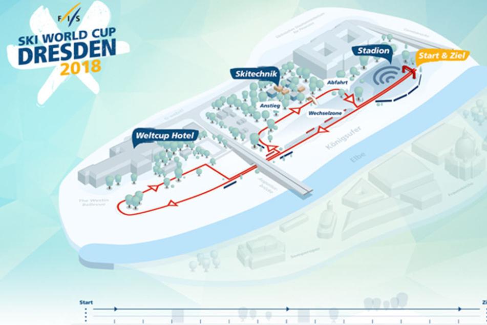 Der Start der Sprint-Strecke liegt am Filmnächte-Areal. Der etwa 800 Meter  lange Kurs führt entlang des Elberadweges. Das Westin Bellevue wird  Athleten-Hotel.