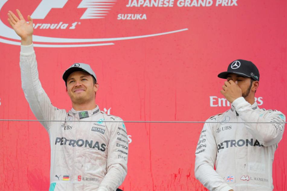 Die WM wird eigentlich nur noch zwischen Rosberg (l.) und Hamilton entschieden.