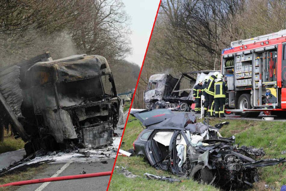 Drei Tote: Schwerer Frontal-Crash mit Lkw und Auto auf B 105