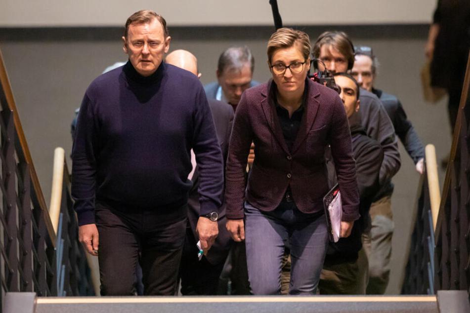 Bodo Ramelow (64) und Susanne Hennig-Wellsow (42) am Montag während der Besprechungen von Rot-Rot-Grün und der CDU.
