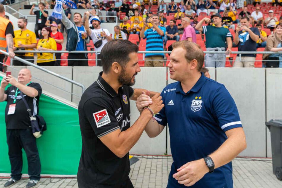 Begrüßten sich vor dem Spiel: Cristian Fiel (links) und Jean-Pierre Richter.