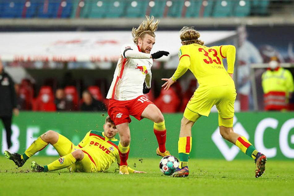 Auch Leipzigs Emil Forsberg (M.) vergab eine gute Schusschance.