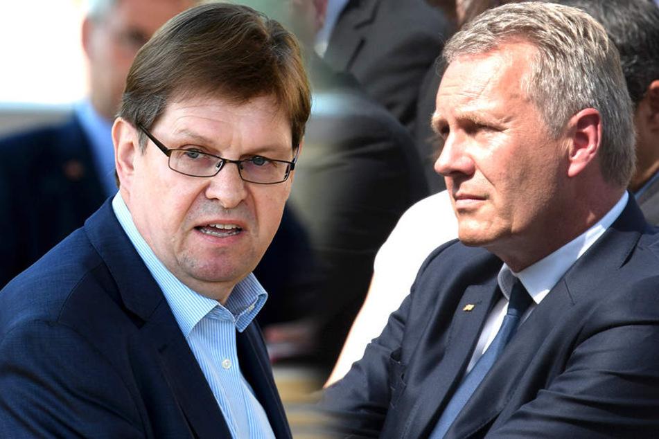 Christian Wulff (58, re.) hat einen neuen Job - das stößt Ralf Stegner (57, SPD) auf.