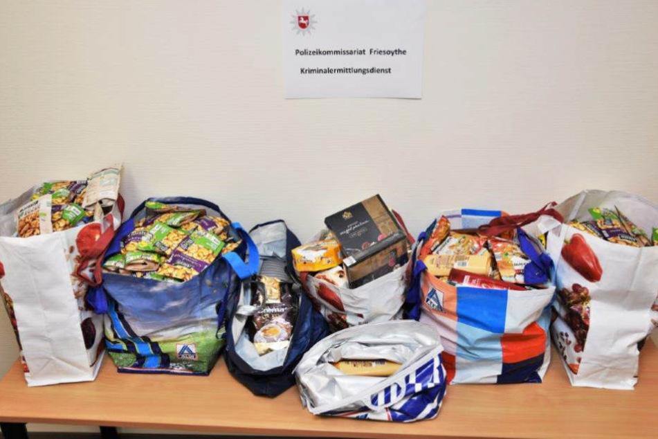 Das ließ sich sehen: Die Polizei stellte die gestohlenen Lebensmittel sicher.