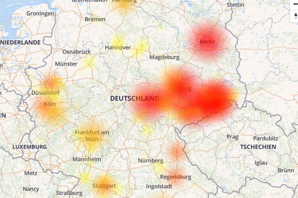 Die Störungskarte zeigt deutliche Ausfälle im Osten Deutschlands.