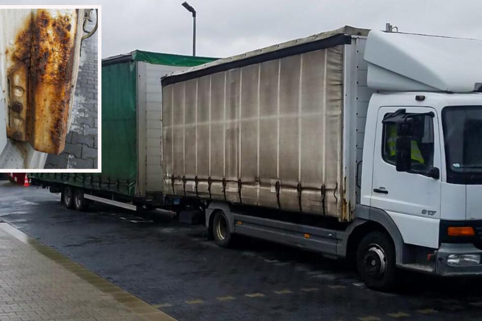 Total verrostet, Lappen gefälscht: Polizei zieht Laster auf der A5 aus dem Verkehr