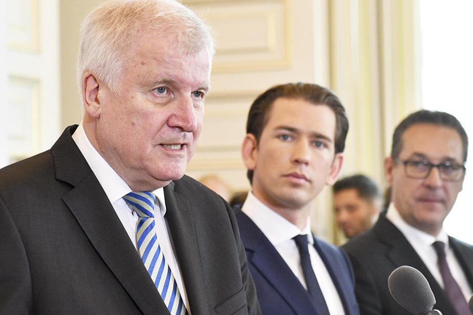 Der deutsche Innenminister Horst Seehofer, Österreichs Bundeskanzler Sebastian Kurz (ÖVP) und Vizekanzler Heinz Christian Strache (FPÖ) trafe sich am Donnerstag zu Gesprächen in Wien.