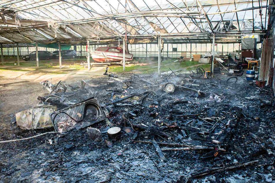 Feuer in ehemaliger Gärtnerei zerstört Wohnwagen
