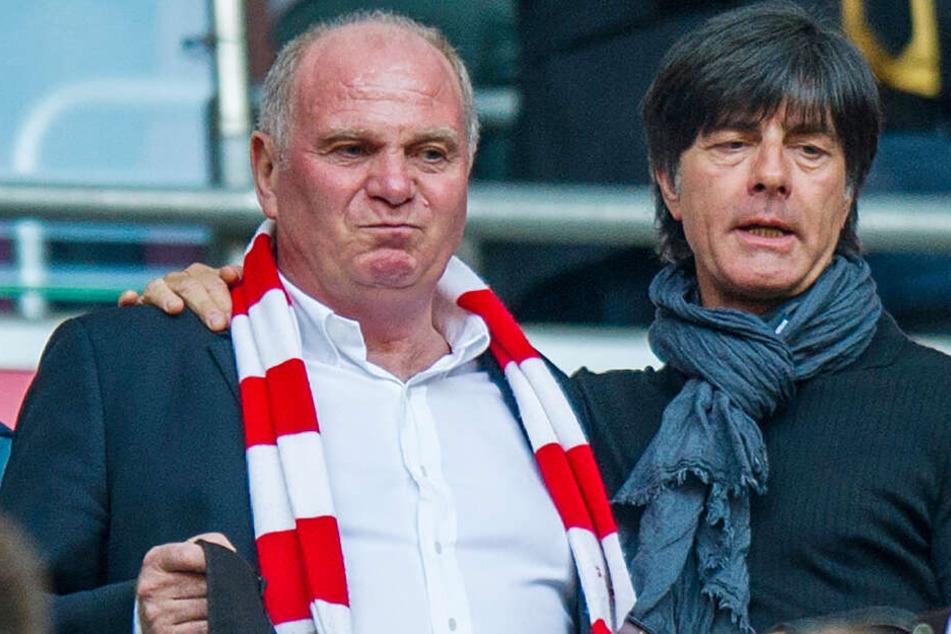 Uli Hoeneß und Bundestrainer Joachim Löw besuchen ein Fußballspiel im Stadion.