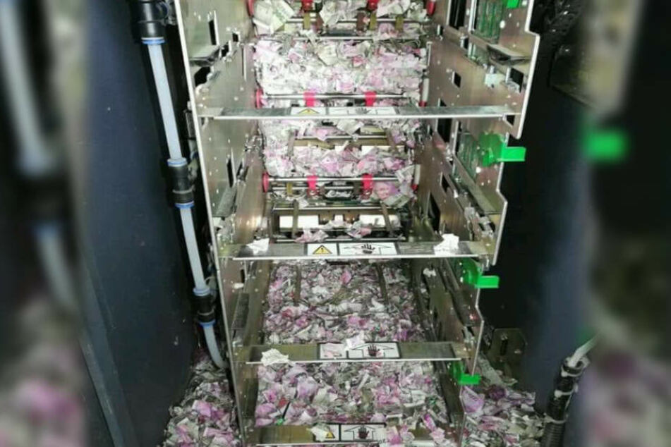 Die Ratte hat im Inneren des Bankautomaten ganze Arbeit geleistet.