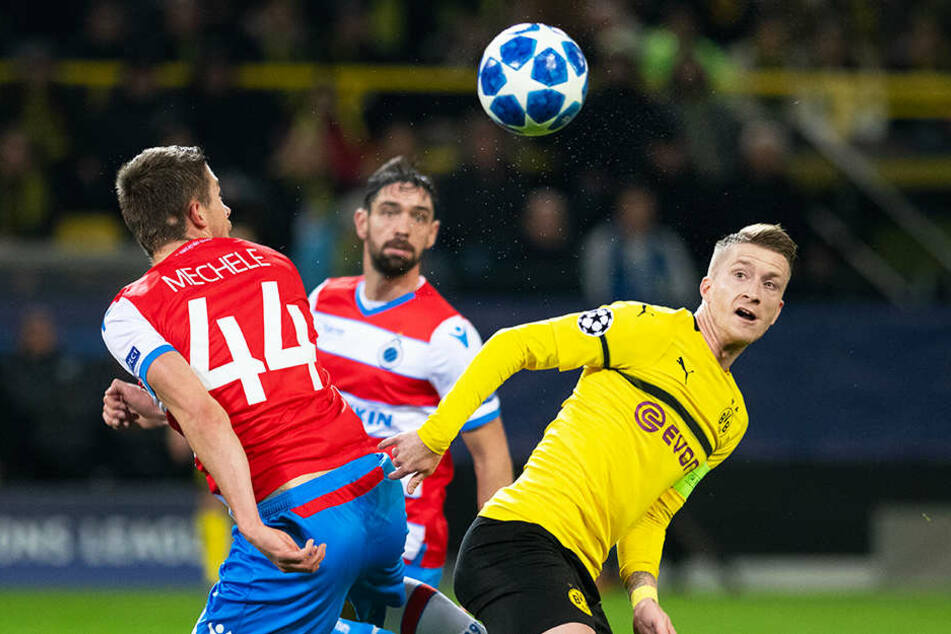 Der BVB um Kapitän Marco Reus (r.) tat sich wie schon beim knappen 1:0-Hinspielerfolg sehr schwer mit dem FC Brügge.