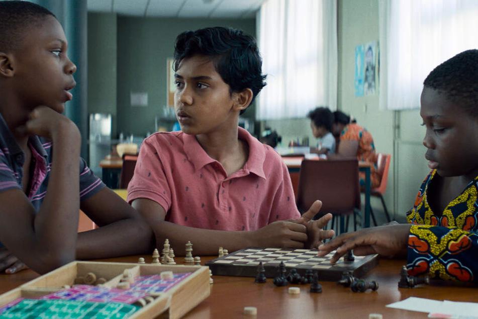 Fahim (M., Assad Ahmed) bringt zwei Freunden im Flüchtlingsheim das Schachspielen bei.