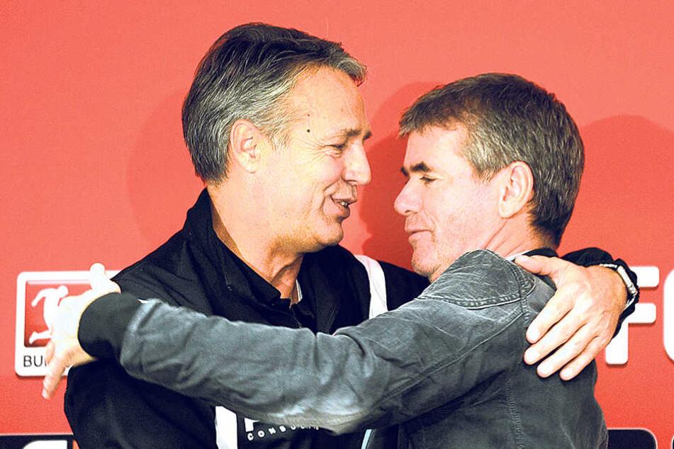 Zwei Trainerkollegen,die sich schätzen: Uwe Neuhaus (l.) und Friedhelm Funkel.