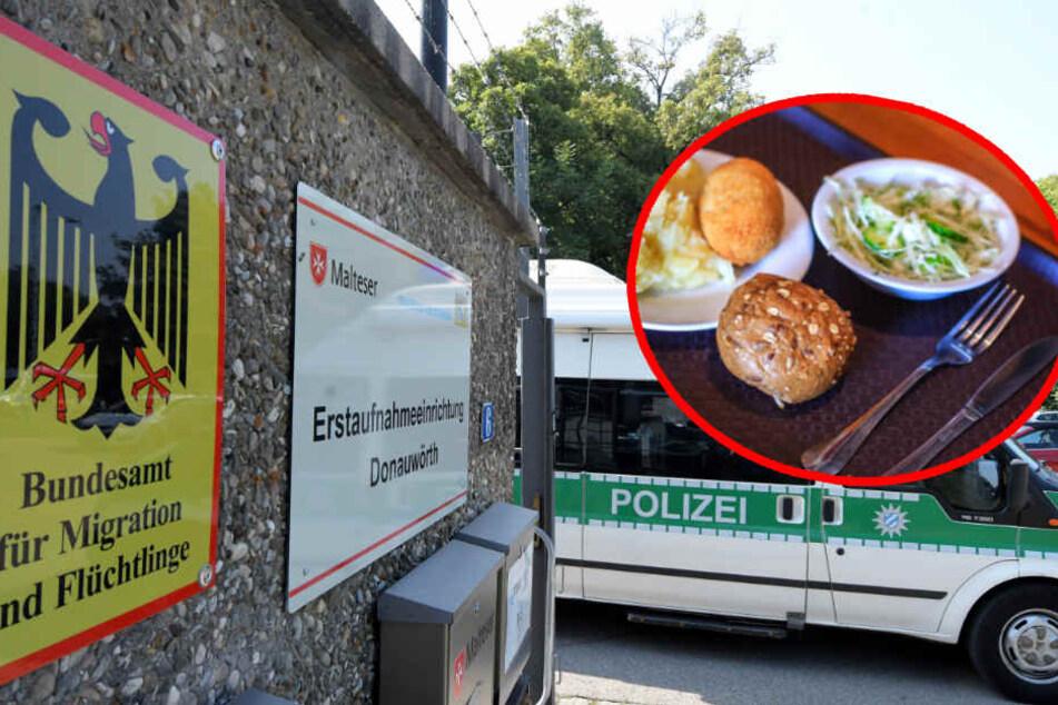 Ein Streit an der Essensausgabe eskalierte im Ankerzentrum Donauwörth. (Bildmontage)