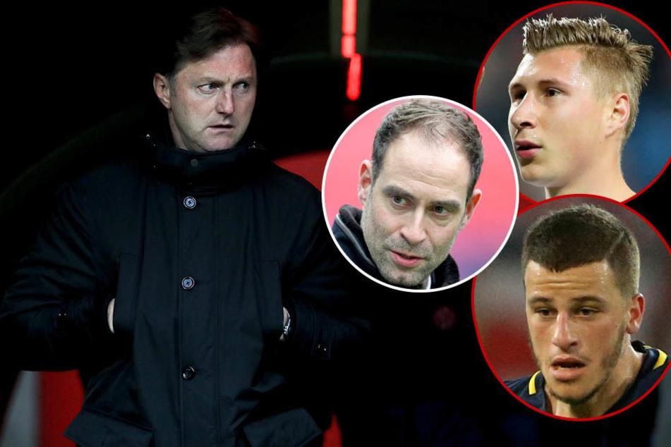 Trainer Ralph Hasenhüttl (l.), Geschäftsführer Oliver Mintzlaff (M.) und die Spieler Willi Orban (oben) und Diego Demme freuen sich auf den SSC Neapel.