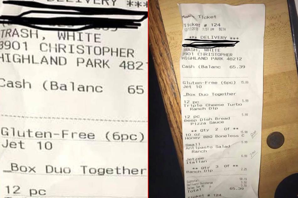 Eine Kellnerin händigte ihm diese Quittung aus.