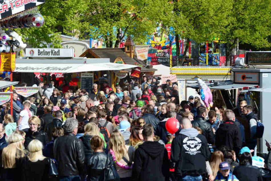 Zahlreiche Besucher feiern das Baumblütenfest.