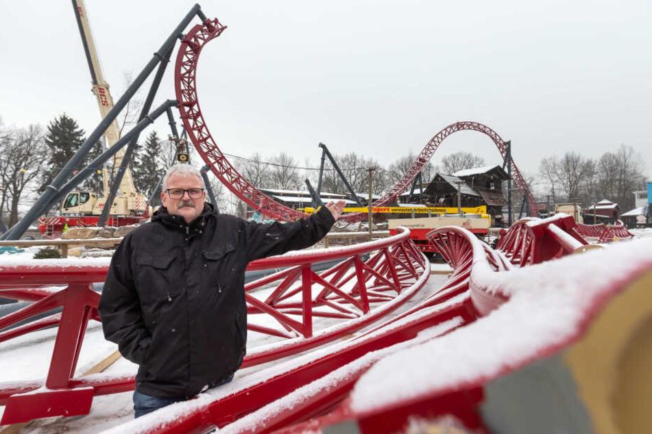 Park-Chef Lutz Müller (59) will mit der neuen Super-Achterbahn 10 Prozent mehr Besucher in den Freizeitpark Plohn locken.