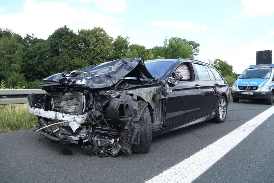 Ein Autofahrer raste am Dienstag in das Ende einer Baustelle.