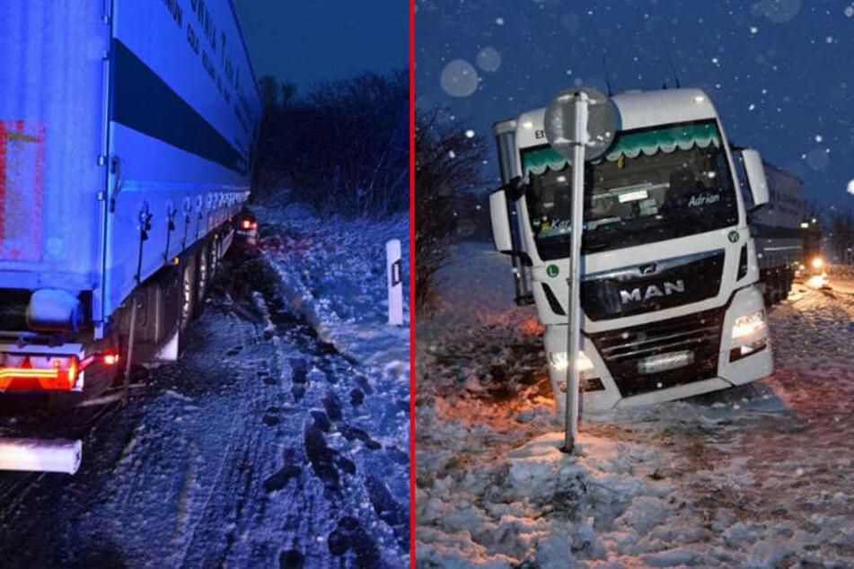 Der Lastwagen musste von einem Bergungsdienst aufgestellt werden.