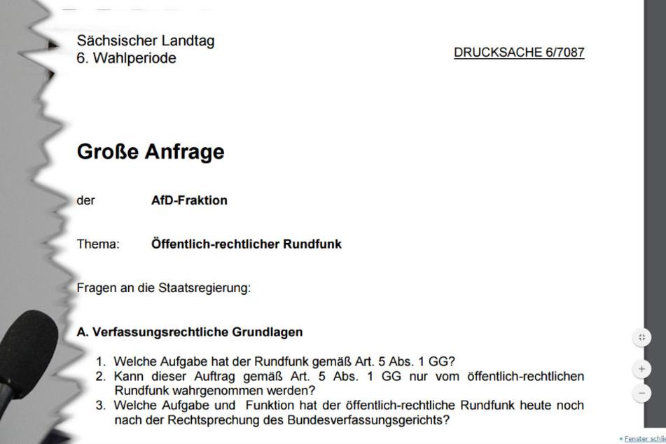 Eingegangen am 15.11.2016 im Sächsischen Landtag: 41 A4-Seiten mit 630 Fragen...