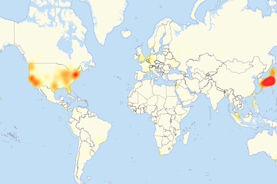 Auf der Karte von allesstörungen.de sieht man die weltweite Störung.