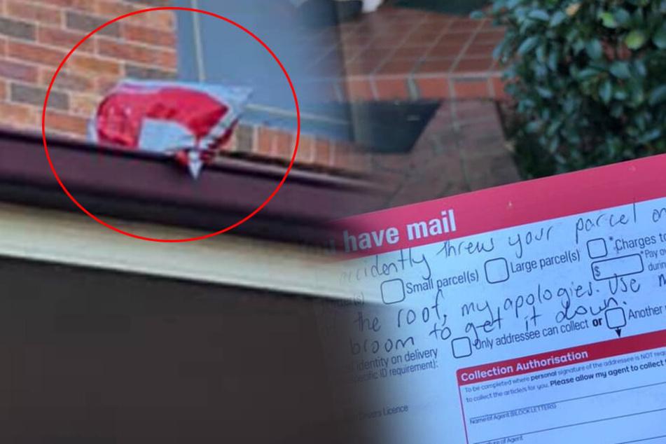 """""""Entschuldigen Sie bitte"""": Unglaublich, wo ein Postbote hier das Paket abgelegt hat!"""
