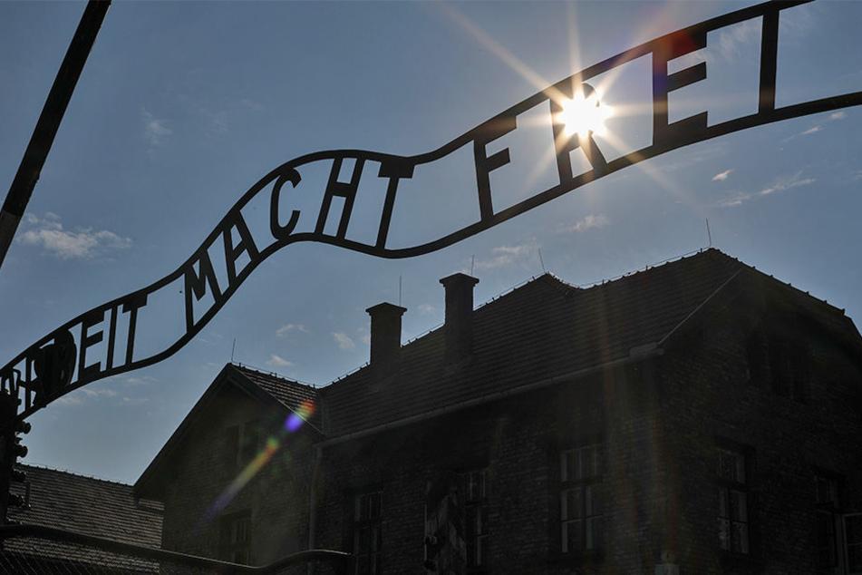 """Blick auf das Tor mit dem Schriftzug """"Arbeit macht frei"""" zum früheren Konzentrationslager Auschwitz."""