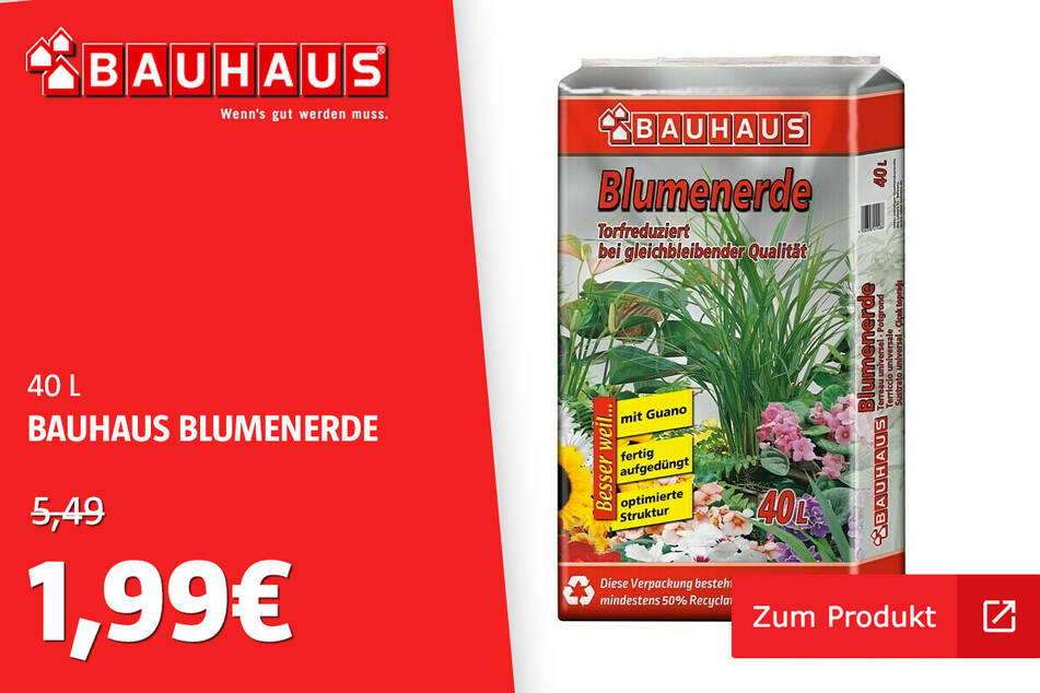 Blumenerde für 1,99 statt 5,49 Euro