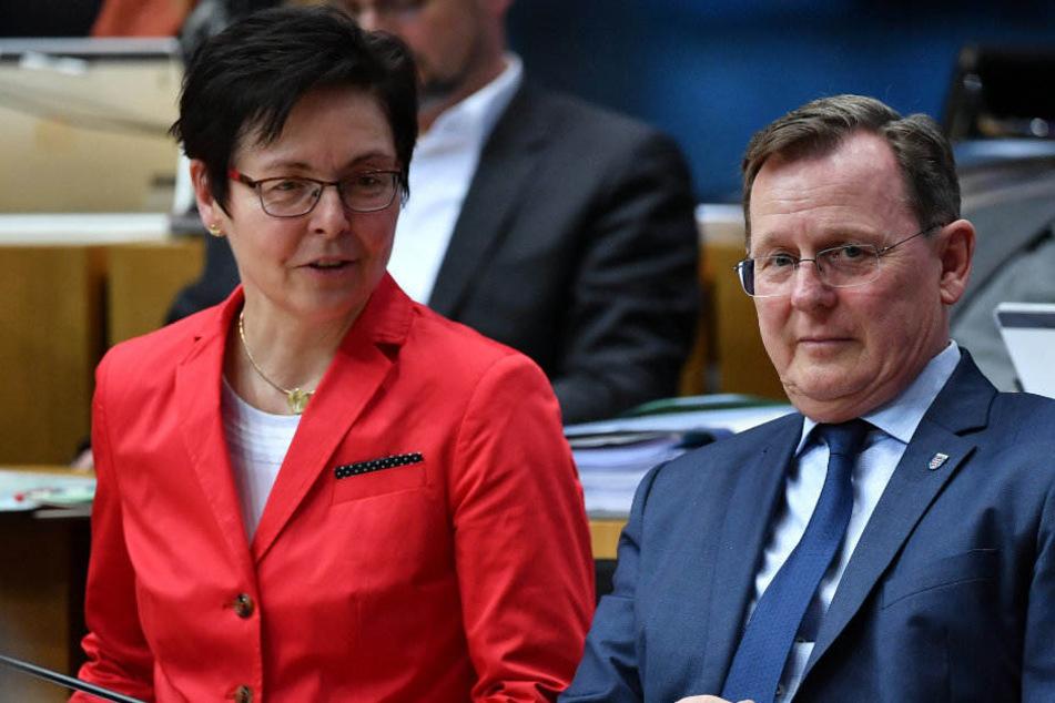Auch künftig soll es wieder Rot-Rot-Grün werden: Bodo Ramelow (Linke) und Heike Taubert (SPD) im Landtag.