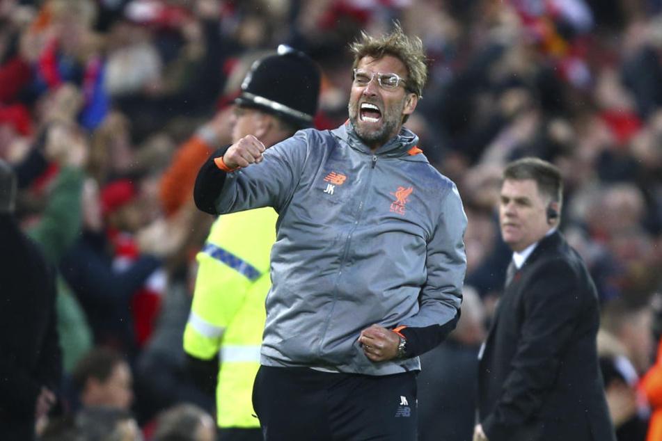 Der Trainer des FC Liverpool, Jürgen Klopp, jubelt hier über den Treffer zum 1:0. Er hatte oft Grund zur Freude...