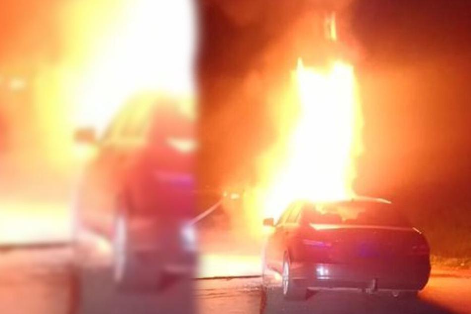 Die Flammen schlugen meterhoch aus dem Mercedes, das Auto war nicht mehr zu retten.