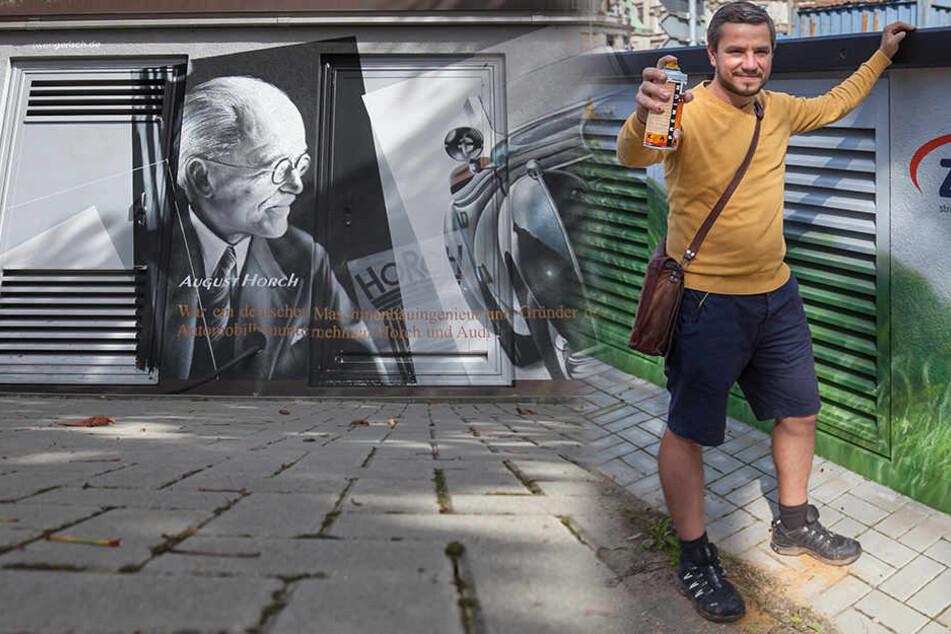 Bunt statt trist: Graffiti-Künstler hübscht Trafo-Stationen auf