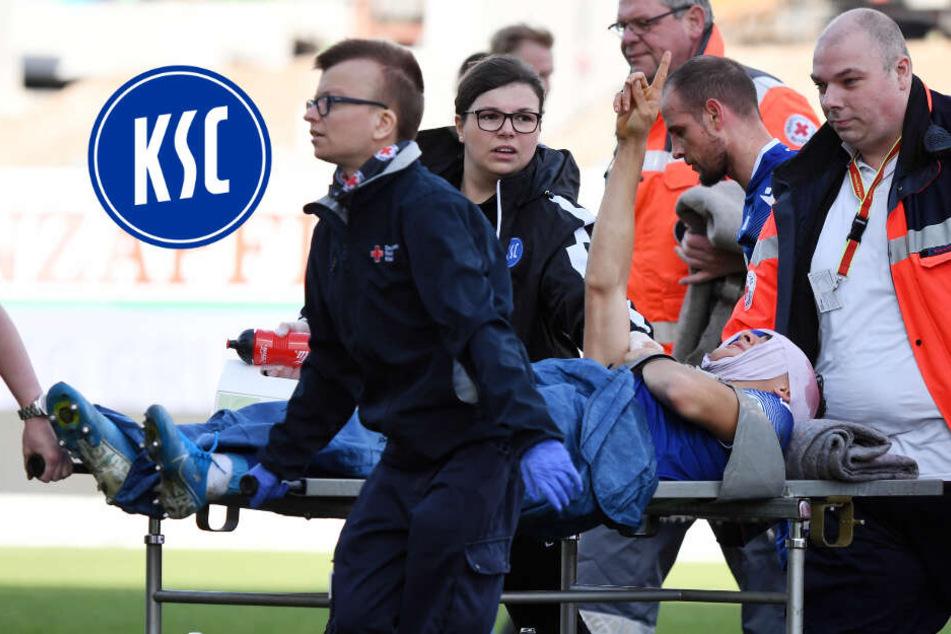 KSC-Profi Carlson kommt mit Kopfwunde ins Krankenhaus