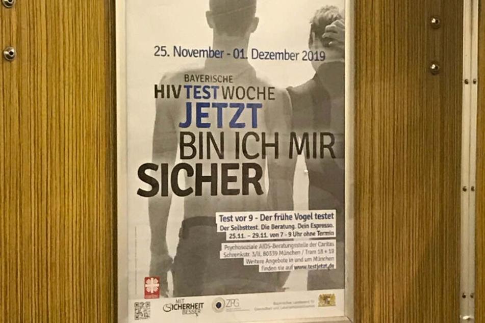 Infoplakat für die HIV-Test-Woche in einer Münchner U-Bahn.